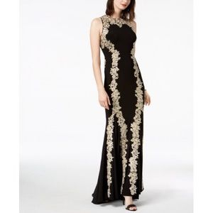 Metallic Embroidered Mermaid Gown Betsy & Adam